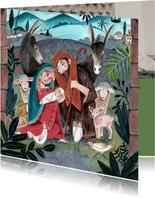 Christelijke kerstkaart Maria en Jozef