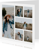 Collage Uitnodiging vierkant met 6 foto's