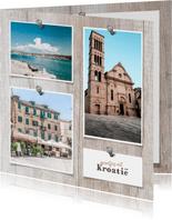 Collage vierkant hout met foto's en spijkers