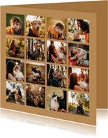Collagekaart fotocollage vierkant met 16 foto's
