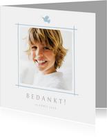 Communie bedankkaartje foto en blauw duifje