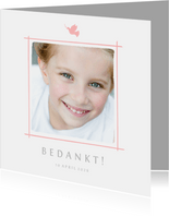 Communie bedankkaartje foto en roze duifje