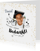 Communie bedankkaartje met foto en doodles