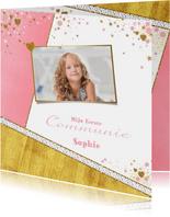 Communiekaarten - Communie fotokaart hip en lief met hartjes sterren bloemen