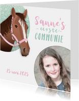 Communie paard meisje roze vormsel
