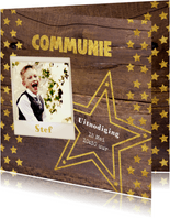 Communie stoere fotokaart hout en sterren