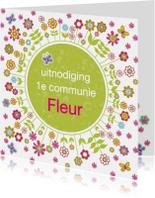 communie uitnodiging bloemen