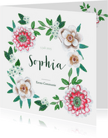 Communie uitnodiging botanische bloemen krans
