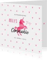 Communie uitnodiging eenhoorn meisje stijlvol hartjes