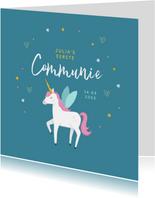 Communie uitnodiging eenhoorn unicorn goud blauw
