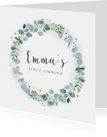 Communie uitnodiging eucalyptus krans gouden hartjes