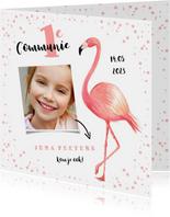 Communie uitnodiging hip flamingo foto