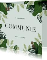 Communie uitnodiging hip met jungle planten en aapjes