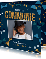 Communie uitnodiging jongen confetti strikjes goud