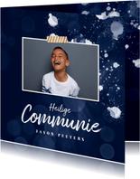 Communie uitnodiging jongen spetters foto stijlvol blauw