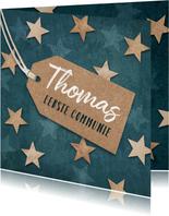 Communie uitnodiging jongen stoer houten sterren label