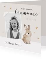 Communie uitnodiging konijn hartjes en foto