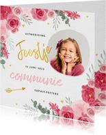 Communie uitnodiging meisje bloemen hartjes goud