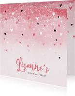 Communie uitnodiging roze zwarte hartjes meisje