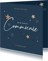 Communie uitnodiging stijlvol houten sterren