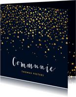Communiefeest uitnodiging jongen stijlvol goud sterren