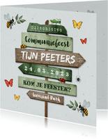 Communiefeest uitnodiging wegwijzers tuinfeest insecten