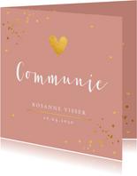 Communiekaart oudroze confetti goudlook