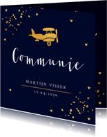 Communiekaart donkerblauw goudlook vliegtuig