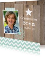 Communiekaart foto jongen mint houtprint