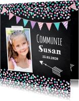 Communiekaart foto meisje confetti slinger