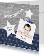 Communiekaart jongen sterren foto letterslinger