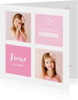 Communiekaart meisje foto roze vlakken