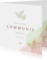 Communiekaart met duif van bloemen en waterverf
