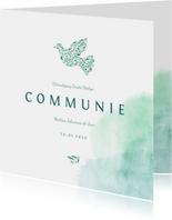 Communiekaart met waterverf en duif van bloemen