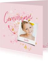 Communiekaart spetters goud roze met foto