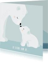 Condeolance kaart kind met mama en baby ijsbeer