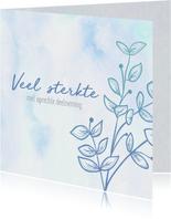 Condoleance - bloem waterverf blauw