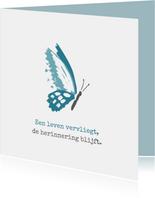 Condoleance Een leven vervliegt met tekening van vlinder
