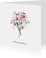 Condoleance kaart met bloemen in aquarel - natuur