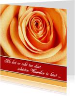 Condoleance kaart oranje roos