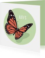 Condoleance kaartje met sierlijke mooie vlinder
