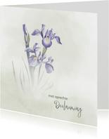 Condoleance met blauwe Iris