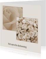Condoleance met rozen in kaders