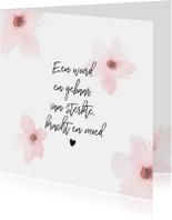 Condoleance - roze bloemen gedicht
