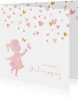 Condoleance waterverf silhouet met vlinders waterverf roze