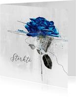 Condoleancekaart blauwe roos sterkte
