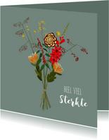 Condoleancekaart Bloemen Illustratie