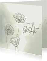 Condoleancekaart - Bloemen met watercolor in groen