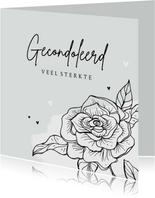 Condoleancekaart gecondoleerd bloem hartjes sterkte