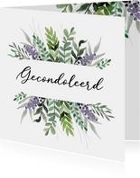 Condoleancekaart gecondoleerd stijlvol bloemen natuur